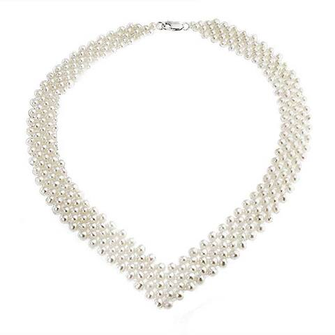 Bridal Collar Necklace For Women V Shaped Imitation Pearl Rhodium Plated 16 Inches