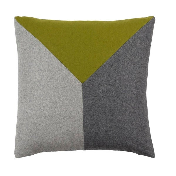 "18"" Asparagus Green and Pewter Gray Geometric Decorative Throw Pillow - Down Filler"
