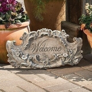 "19.5"" Elegantly Distressed ""Welcome"" Outdoor Patio Garden Plaque Decoration"