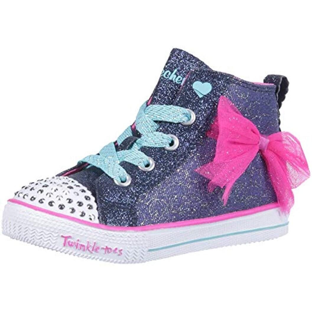 Skechers Kids Girls' Shuffle Lite Harmony Hearts Sneaker, NavyHot Pink, 12 Medium Us Little Kid