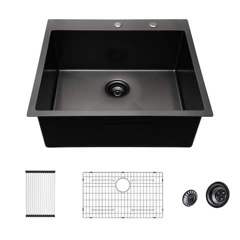 Lordear 25x22 inch Kitchen Sink Drop In Gunmetal Black 16 Gauge Stainless Steel Single Bowl Topmount Kitchen Sink Basin