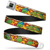 Classic Tmnt Logo Full Color Classic Tmnt 4 Turtle Faces Pepperoni Pizza Seatbelt Belt