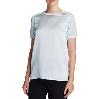 Vince Womens Pullover Top Silk Short Sleeves - l