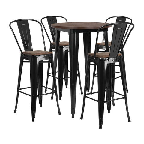 """Offex 30"""" Round Black Metal Bar Table Set with Wood Top and 4 Stools"""