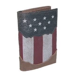 Roper Men's Leather American Flag Print Western Rodeo Trifold Wallet - Brown - One Size