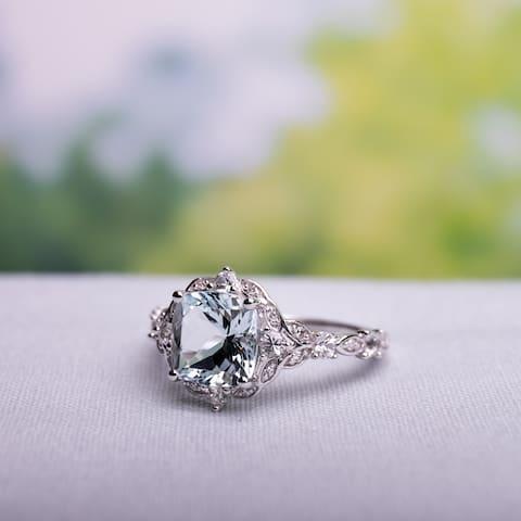 Vintage Aquamarine White Sapphire and Diamond Ring in 14k White Gold by Miadora