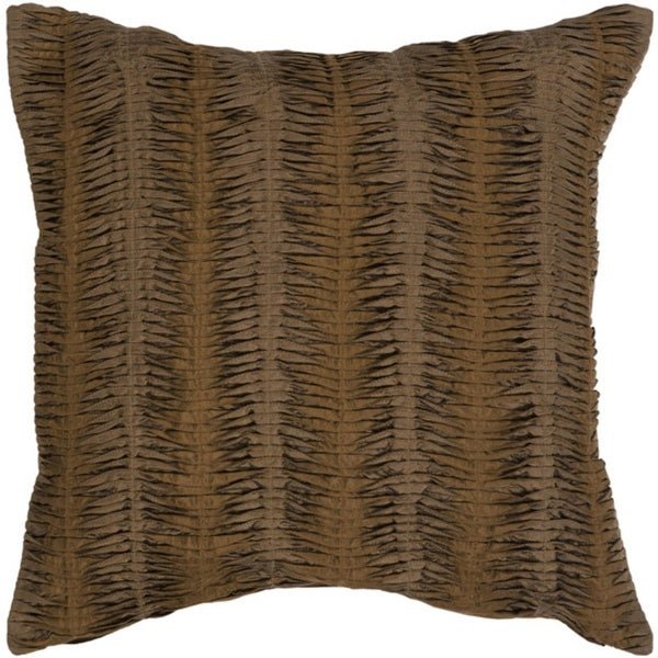 "18"" Dark Chocolate Brown Pintuck Column Decorative Down Throw Pillow"