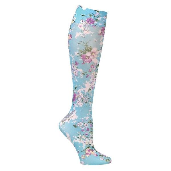 Celeste Stein Moderate Compression Knee High Stockings Wide Calf-Bouquet on Aqua - Medium