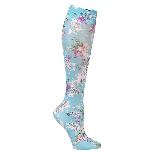Celeste Stein Women's Moderate Compression Knee High Stockings - Bouquet on Aqua - Medium