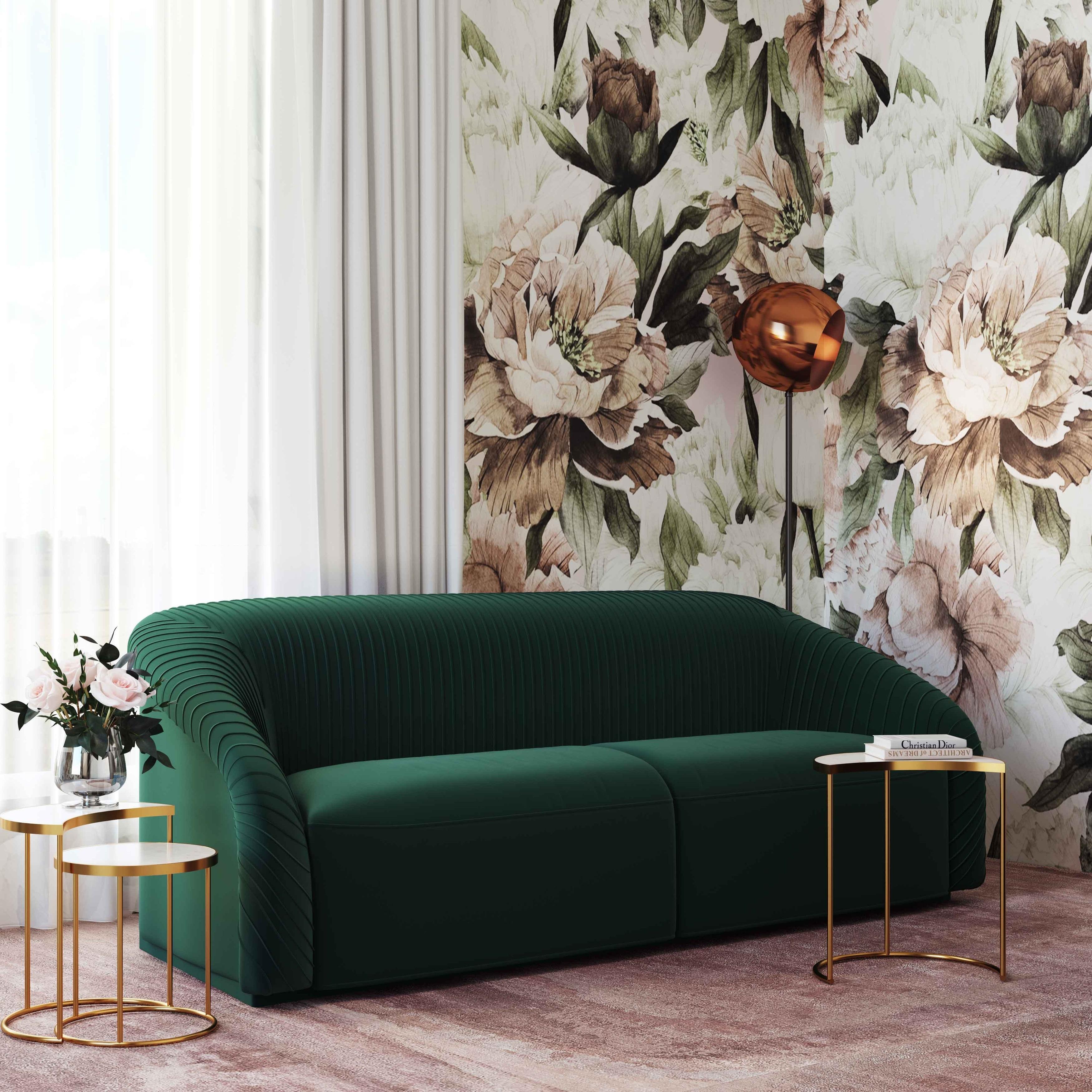 Yara Pleated Forest Green Velvet Sofa Overstock 30073614