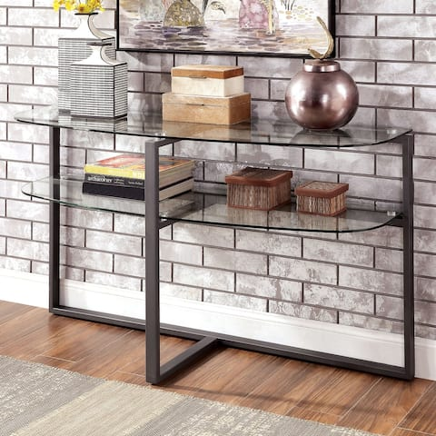 Furniture of America Jeti Contemporary Black Glass Sofa Table