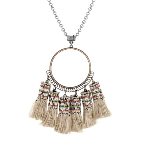 Boho Tan Tassel Pendant with Stainless Steel Chain Necklace
