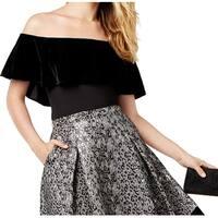 SB by Sachin & Babi Black Womens Size Medium M Velvet Ruffle Top