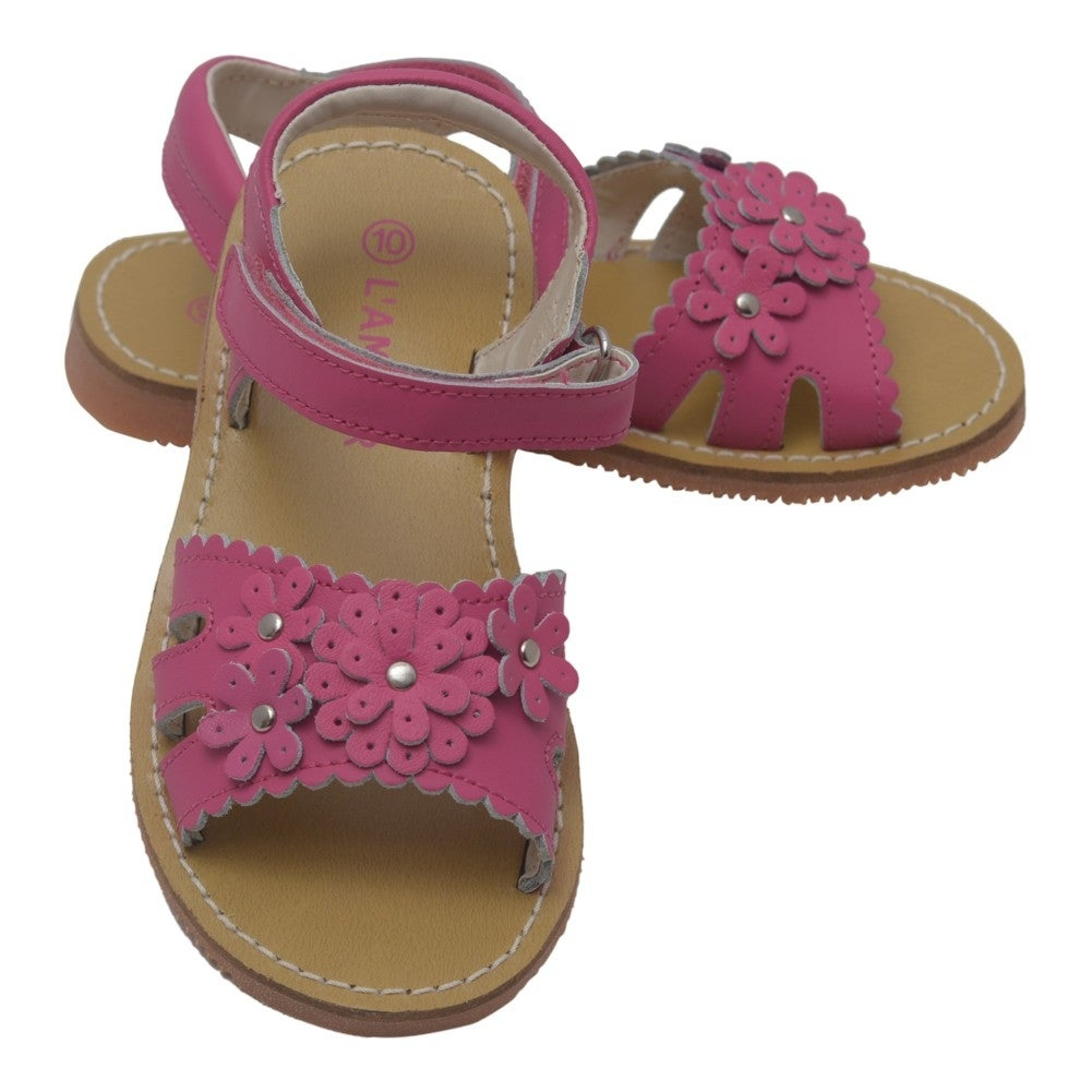 9a29bd36083f4 Shop L Amour Girls Fuchsia Scalloped Flowers Closure Sandals 11-4 Kids -  Free Shipping On Orders Over  45 - Overstock - 25599807