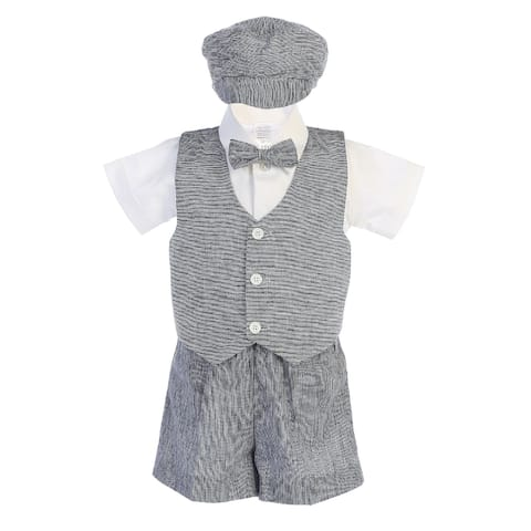 Lito Little Boys Navy Vest Shorts Hat Easter Outfit Set