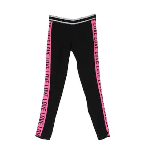 Material Girl Rich Black Pink Holiday Leggings XXS