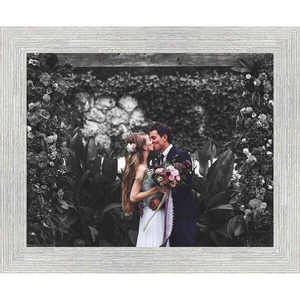 28x10 White Barnwood Picture Frame - With Acrylic Front and Foam Board Backing - White Barnwood (solid wood)