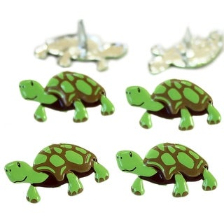 Eyelet Outlet Shape Brads 12/Pkg-Turtle