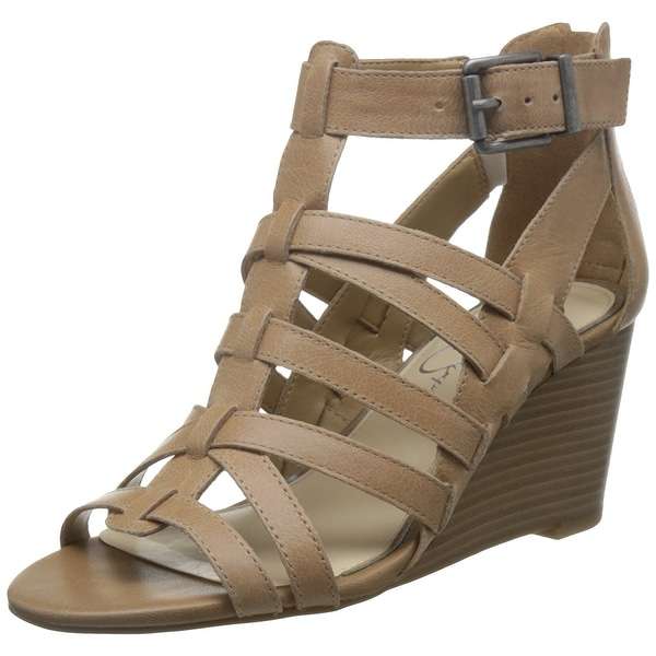 Jessica Simpson Womens Cloe Leather Pointed Toe Casual T-Strap, Buff, Size 8.5