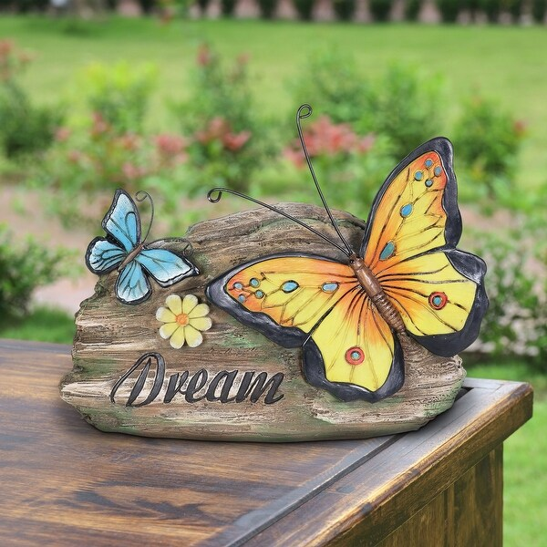 Exhart Dream Yellow and Blue Butterflies Hand Painted Garden Statuary, 11 by 8 Inch. Opens flyout.
