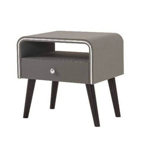 Curved Edge 1 Drawer Nightstand with Chrome Trim, Gray and Black