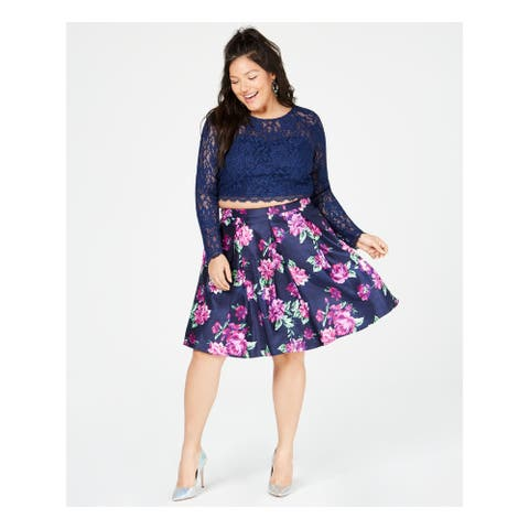 MY MICHELLE Womens Navy Floral Long Sleeve Knee Length Bubble Prom Dress Plus Size: 24