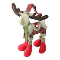 "25"" Plush Nordic Red and Green Plaid Reindeer Christmas Table Top Figure"