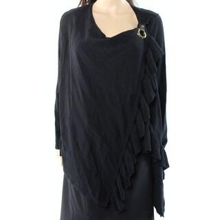INC NEW Black Women's Size Large L Ruffle Trim Buckle Wrap Sweater