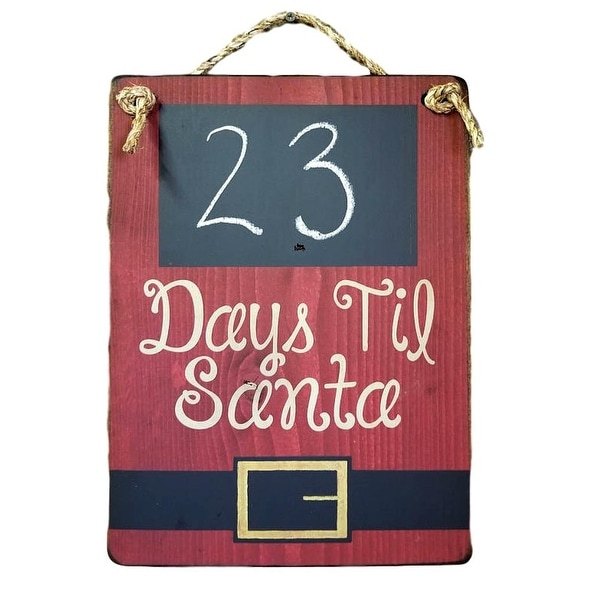 Cowboy Signs Wood Wall Hanging Days Til Santa Countdown Red Black