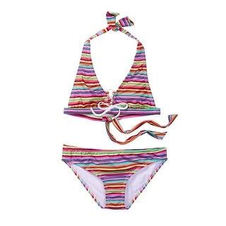 Azul Little Girls Multi Stripe Machu Pichu 2 Pc Halter Bikini Swimsuit