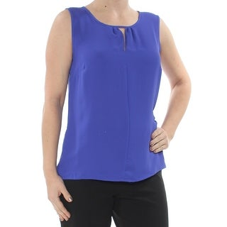 KASPER Womens Blue Sleeveless Keyhole Blouse Top  Size: XS