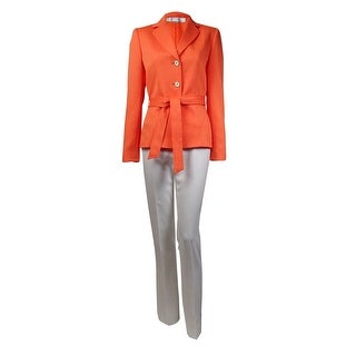 Tahari Women's Belted Notched Lapel Three Button Pant Suit - Orange/Ivory