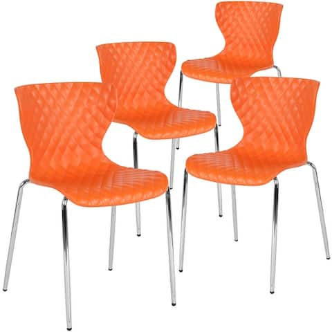 4 Pack Contemporary Design Plastic Stack Chair