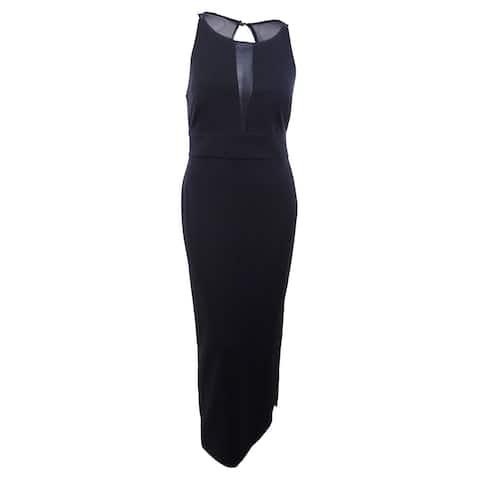 Connected Women's Illusion-Inset Slit Gown (10, Black) - Black - 10
