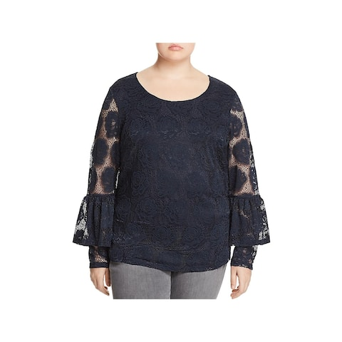 Junarose Womens Plus Gin Pullover Top Lace Bell Sleeves - 2X