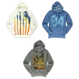 Urban Pipeline Mens Burnout Fleece Hoodie Sweatshirt Blue Gray Ivory