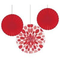 """Club Pack of 18 Classic Red Hanging Tissue Paper Fan Party Decorations 12"""" & 16"""""""