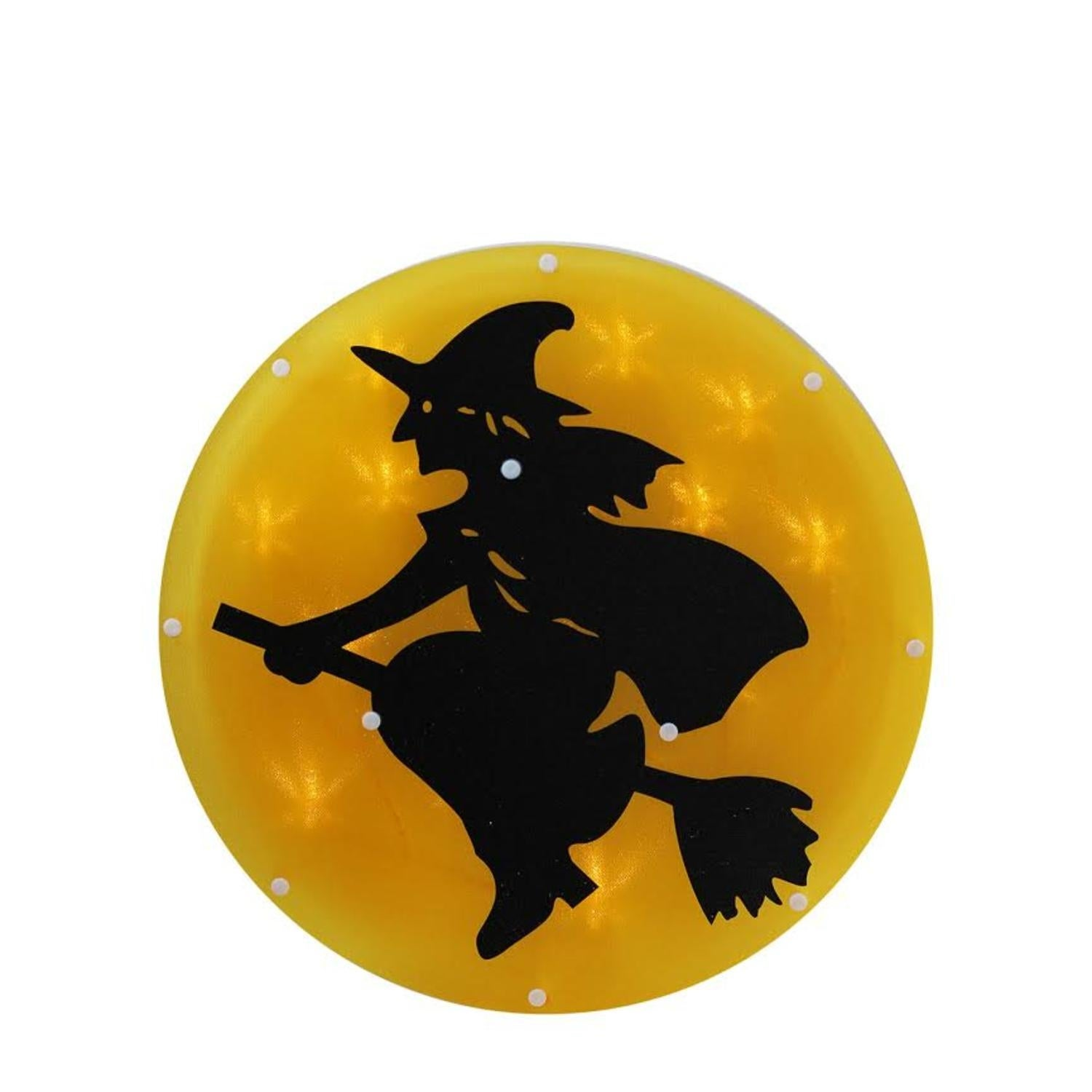 """13 75"""" LED Lighted Halloween Witch with Broom on Moon with Timer Window Silhouette Decoration"""