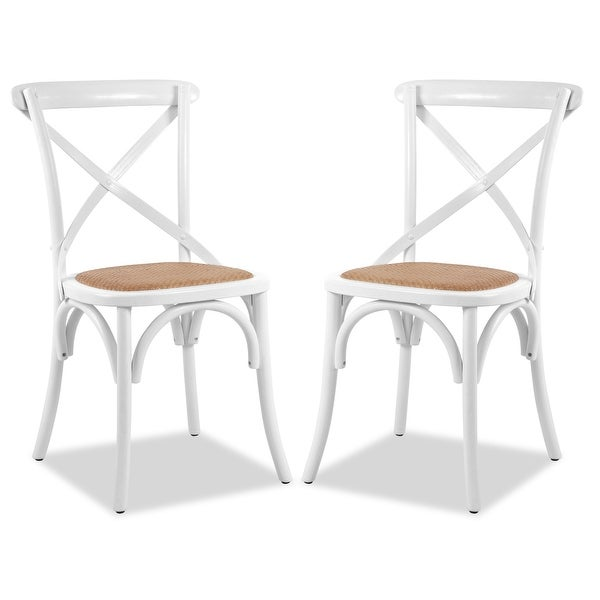 Poly and Bark Cafton Wood Rattan Crossback Chair (Set of 2). Opens flyout.