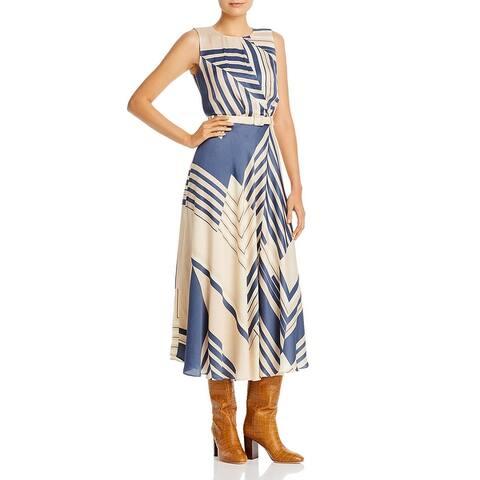Lafayette 148 New York Womens Amalia Midi Dress Belted Printed - Melba Multi
