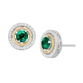 7/8 ct Created Emerald & 1/8 ct Diamond Stud Earrings in Sterling Silver and 14K Gold - Green