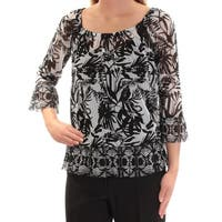 INC Womens Black Floral 3/4 Sleeve Scoop Neck Top  Size: XS