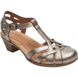 Rockport Women's Cobb Hill Aubrey T Strap Sandal Pewter Leather