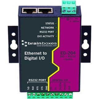 Brainboxes ED-204 Brainboxes Ethernet to Digital + RS232 + Switch - 2 x Network (RJ-45) - 1 x Serial Port - Fast Ethernet -|https://ak1.ostkcdn.com/images/products/is/images/direct/e82f52afc3ac3e2eeea183e1ffb10d9ff9794b58/Brainboxes-ED-204-Brainboxes-Ethernet-to-Digital-%2B-RS232-%2B-Switch---2-x-Network-%28RJ-45%29---1-x-Serial-Port---Fast-Ethernet--.jpg?impolicy=medium