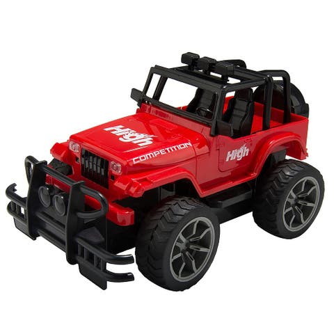 "Sporty Red High Speed All Terrain Car Remote Control 4x4 Utility Jeep - 9'6"" x 13'"