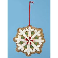 """4"""" Gingerbread Kisses Snowflake Shaped Decorated Cookie Christmas Ornament"""