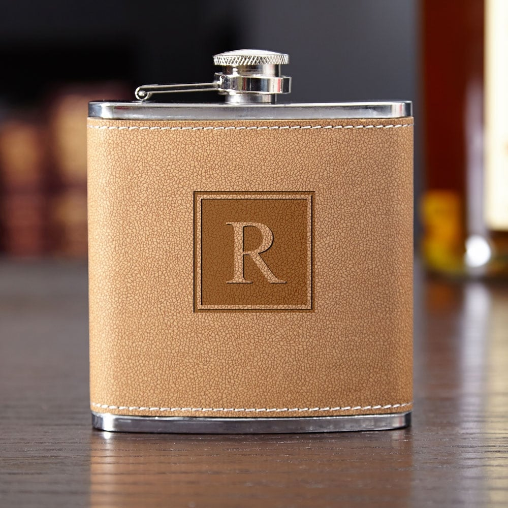 Letter J 6 oz Visol Products Raven Personalized Flask with Initial Engraved Matte Black