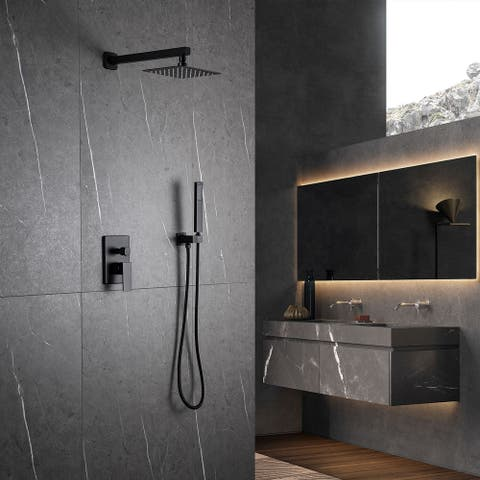 1-Spray Square Hand Shower and Showerheads from Wall Combo Kit with Slide Bar in Matte Black (Valve Included)