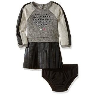 Calvin Klein Kids Girls 12-24 Months Pleather Studded Heart Dress - grey