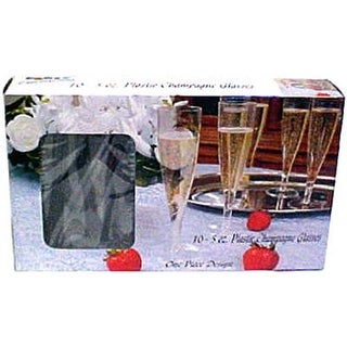 0244 10 Count Plastic Flute Champagne Glasses - 5 oz., Pack of 12